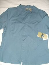 NWT! Shaver Lake Women's Eye Hook 3/4 Sleeve Cotton Shirt Blouse Top L Problue