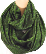 Silk (50%) & Viscose Lrg Green & Black Paisley Circle Loop Infinity Scarf Snood