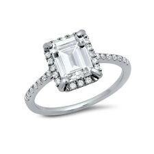 925 Sterling Silver Engagement Ring 4 carat Emerald Cut Cubic Zirconia Size 8