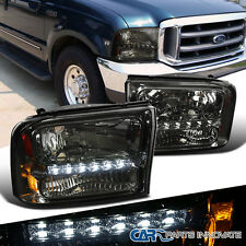 Ford 99-04 F250/F350 Superduty 00-04 Excursion Smoke 1PC Headlights+SMD LED DRL