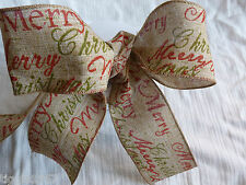 60 mm x 1 METRE  Wired Rustic Merry Christmas Hessian Ribbon-Cakes/Bows/Garlands