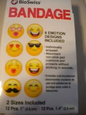 NEW in box  24 EMOJI happy face NON STICK Band-Aid Bandages Bandaids