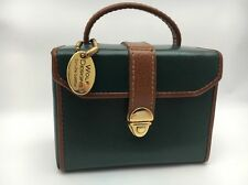Wolf Designs Mini Jewelry Travel Case Leather Green Brown Fold Out