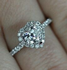 1 Ct Heart Shape Halo Engagement Wedding Promise Ring Solid 14K White Gold