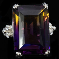 19.25 CT MULTI COLOR AMETRINE & SAPPHIRE EMERAL STERLING SILVER 925 RING SIZE6.5