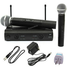 PRO Dual VHF WIRELESS MIC 2x Handheld MICROPHONE SYSTEM UT4 Type + Receiver NEW