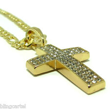 """Cross Jesus Piece Gold Plated Iced-Out Micro Pave Pendant 24"""" Figaro 5mm Chain"""
