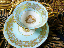 COALPORT   TEA  CUP AND SAUCER  ~ GOLDEN WEDDING~ SOFT BLUE BAND GOLDEN LACE
