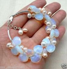 Handmade Natural White & Pink Akoya Pearl & Moonstone Gems Bracelet