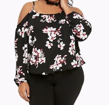Torrid Floral Print Georgette cold Shoulder Top Black 1X 14 16 1 #65058