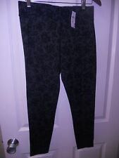 NWT ANN TAYLOR GRAY BLACK LACE DESIGN LEGGINGS SIZE M