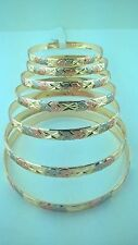 Gold Filled 7 Days bangle Bracelet 3 TONE Semanario de oro laminado ( 7 Aros)