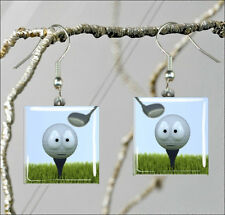 THE LIFE OF A GOLF BALL SQUARE GLASS CABOCHON EARRINGS -jik4Z