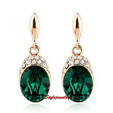 Rose Gold Filled Emerald Green Swarovski Crystal Oval Drop Dangle Earring XE82