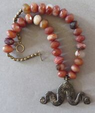 Ethnic Design Necklace/African Gan Bronze Snake Pendant, Crab Agate Beads