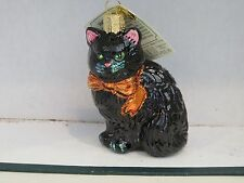 Halloween  Black Cat Kitty  Old World Christmas glass ornament