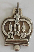 ❤RETIRED JAMES AVERY ~MARRIAGE PENDANT~ Medal Charm Wedding Bell Candles Silver❤