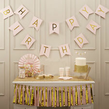 Happy Birthday Bunting Garland Gold Letter Party Hanging Paper Banner Decoration