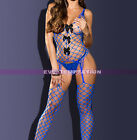 Sexy blue BODYSUIT Babydoll Lingerie Underwear miniDress BODYSTOCKING FishNet