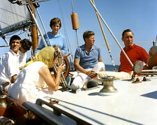 """PRESIDENT JOHN F. KENNEDY AND OTHERS ABOARD THE """"MANITOU"""" - 8X10 PHOTO (AA-691)"""