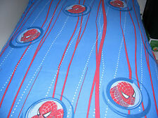 * Toddler Youth FLAT bed sheet SPIDERMAN or curtain fabric Blue