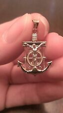 14K SOLID GOLD TWO-TONE MARINER'S ANCHOR CROSS CHARM / PENDANT - 1.8 GRAMS