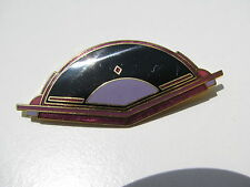 VINTAGE DESIGNER SIGNED ISLE OF SKYE DECO ENAMEL FAN STEP DESIGN LAVENDER BROOCH