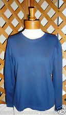 CHEROKEE KNIT TOP~T-Shirt Style~Navy~Long Sleeve~Miss Size Small~FREE SHIP