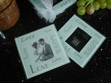100 Sets of 2 Love Glass Photo Coaster Bridal Wedding Favor Thank You Party Gift