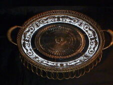Superb Rare Vintage Duncan Sandwich Pattern Pressed Glass Platter & Basket.