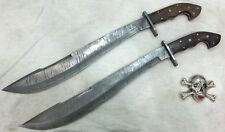 Custom Handmade knife king's Damascus Machete sword pair