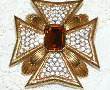 Gorgeous JOAN RIVERS Clear & Yellow Amber Crystal Maltese Cross Brooch/Pin  N93*
