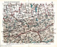 Kempten GAP Memmingen Tölz 1933 Eisenbahnkarte Innsbruck Füssen Kaufbeuren Zams