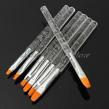 7pcs UV Gel Acrylic Crystal Nail Art Design Builder Salon Painting Brush Pen Set