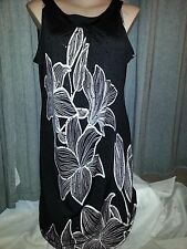 Sahara Floral SEQUIN Print dinner Party DRESS strong stretch 20 NEW Black cream