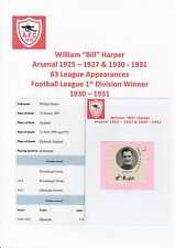 BILL HARPER ARSENAL 1925-27/1930-31  VERY RARE ORIGINAL SIGNED CUTTING & MAG PIC