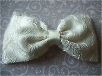 HANDMADE IVORY SATIN & FLORAL LACE BOW HAIR CLIP BRIDAL 40'S 50'S VINTAGE STYLE