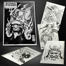 100Japanese Dragon Koi Hannya Flash Design Outline Manuscript Sketch Tattoo Book