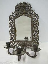 Antique 19c Victorian Bradley & Hubbard bevel edge Mirror triple Candle Holder