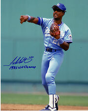FRANK WHITE  KANSAS CITY ROYALS  1985 WS CHAMPS   ACTION SIGNED 8x10
