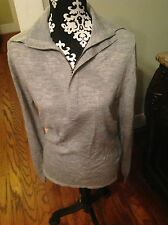 Women's Lacoste Gray 1/2 Zip Pullover Collared Wool Sweater Size 4 6 Small NWT