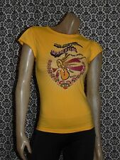 Oilily Yellow Music Sweet Music Cap Slv Top Shirt Blouse Womens XSMALL USED