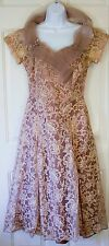 Vintage 1940's ANDORA Dress Taupe Beige Nude LACE Party NEW YORK USA *Damage*