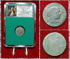 COIN QUEEN OF SPAIN ISABELLA II CROWNED ARMS CASTLES LIONS ON REVERSE 1 CENTIMOS