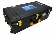 Black with Yellow Handles & latches Pelican 1615 case With Foam.  With wheels.