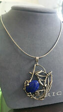 """Vintage Sterling Silver Blue Lapis Pendant Necklace 18"""""""