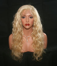 "100% REAL REMY HUMAN HAIR LACE CLOSURE NET CAP WIG BLONDE BODYWAVE 20"" 180%"