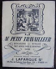 CATALOGUE, Au petit travailleur, tout article pour le decoupage, LAFARGUE, 1939