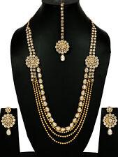 Gold Tone White Kundan Necklace Set Wedding Jewelry Bridal Long Bollywood Indian