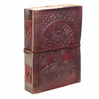 Fair Trade Handmade Eco Tree Of Life Design Embossed Leather Journal Notebook